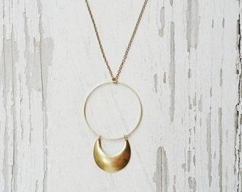 moonshadow - crescent moon necklace