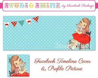 DIY Facebook Cover Package - Facebook Timeline Cover and Profile Picture - Sweet Times - Website or Blog Banner Digital Instant Download