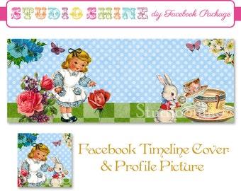 DIY Facebook Cover Package - Facebook Timeline Cover and Profile Picture - Wonderland - Website or Blog Banner Digital Instant Download