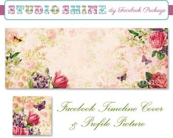 DIY Facebook Cover Package - Facebook Timeline Cover and Profile Picture - Timeless Elegance - Blog Banner Digital Instant Download
