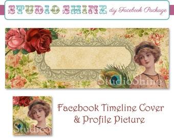 DIY Facebook Cover Package - Facebook Timeline Cover and Profile Picture - Romantique - Blog or Website Banner Digital Instant Download