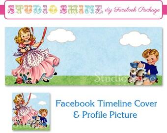 DIY Facebook Cover Package - Facebook Timeline Cover and Profile Picture - Retro Kids - Website or Blog Banner Digital Instant Download