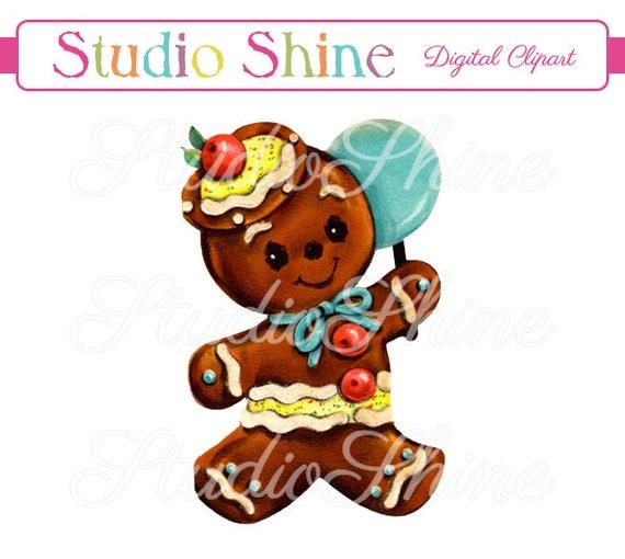 Vintage Digital Clipart Gingerbread Man 02 Cute Clip Art