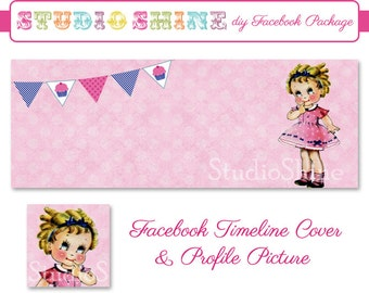 DIY Facebook Cover Package - Facebook Timeline Cover and Profile Picture - Little Miss Cupcake - Blog Banner Digital Instant Download