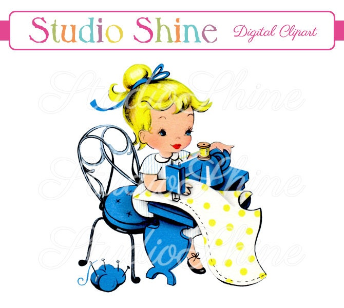 vintage digital clipart girl sewing printable image cute etsy rh etsy com vintage baby clipart google vintage baby carriage clipart