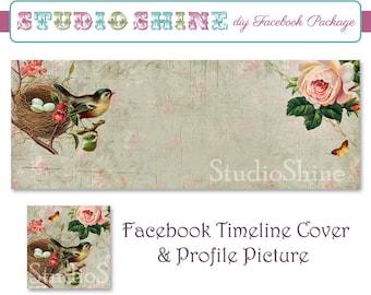 DIY Facebook Cover Package - Facebook Timeline Cover and Profile Picture - Vintage Bird Garden - Digital Instant Download