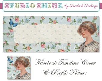 DIY Facebook Cover Package - Facebook Timeline Cover and Profile Picture - Classique - Digital Instant Download