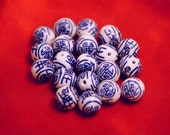 Porcelain Chinese Longevity Beads 14 mm Beads Hand Painted Ceramic Beads Chinoiserie Beads Asian Beads Blue White Porcelain Bead