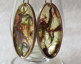 Handpainted Forest Green and Brown Translucent Oval Earrings