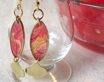 Handpainted Scarlet and Crimson Translucent Oval Frame Earrings