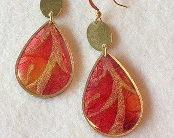 Handpainted Scarlet and Crimson Translucent Teardrop Earrings