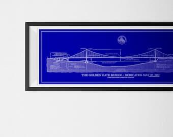 Golden Gate Bridge Engineering Blueprint   Genuine Diazo Old Style Print