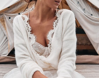 Bridal sweater, bridal knitted cardigan, knitted ivory sweater, ecru sweater, bridal knit cloak,  ivory sweater with lace, bridal knit cover