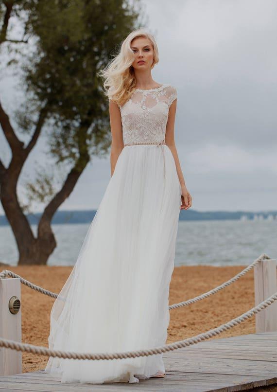 Wedding Dress Ivory Champagne Gold Wedding Dress Lace   Etsy