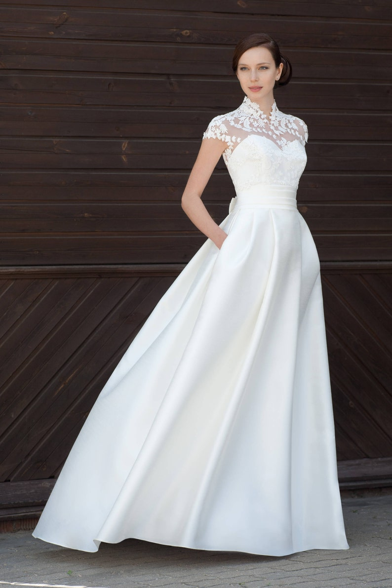 e1810c38e4bb Simply elegant satin wedding dress with a сotton lace topper