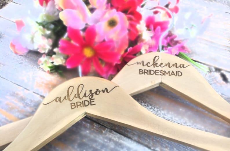 Wedding Name Hangers Wedding Hanger Bridal Dress Hanger Engraved Wooden Hanger Personalized Bridesmaid Hangers