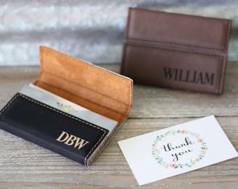 Custom Engraved Leather Business Card Holder, Personalized Card Case, Corporate Gifts, Boss Gift, Fathers Day Gift, Groomsmen Gifts