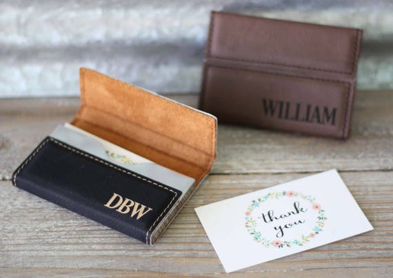 Custom Engraved Leather Business Card Holder Personalized Etsy