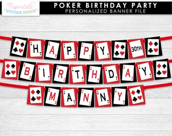 Casino Night Poker Theme Birthday Party Cupcake Toppers Red Etsy