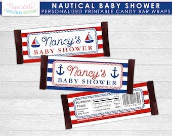 d9e4487e87c3 Nautical Theme Baby Shower Chocolate Bar Wrappers