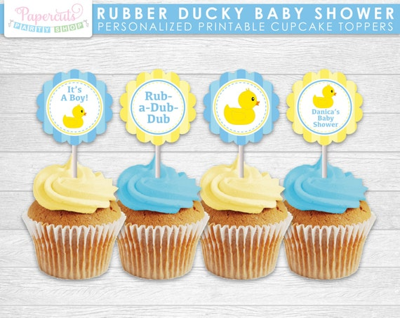Rubber Ducky Theme Baby Shower Cupcake Toppers Blue Yellow Etsy