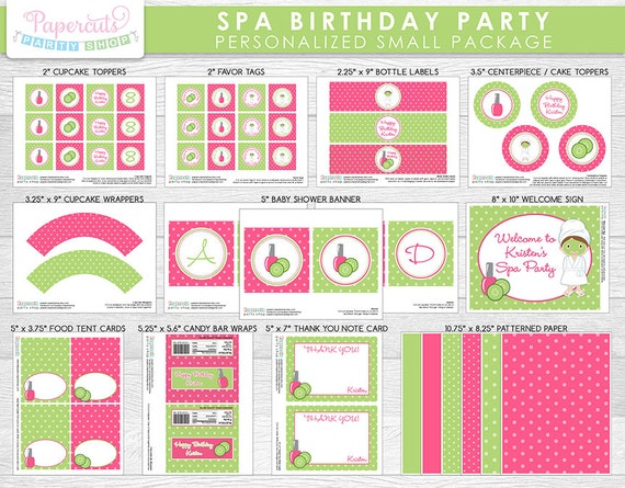 10 Spa Party Birthday or Shower Favors Personalized Thank You Tags