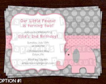 Elephant Theme Birthday Party Invitation | Pink & Grey | Personalized | Printable DIY Digital File