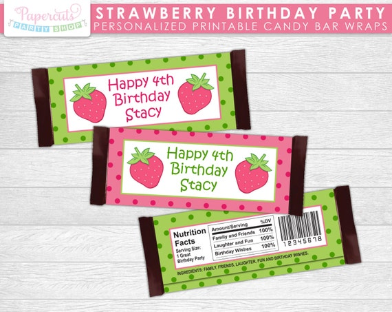 Pink theme cool bar Candy Buffet Image Etsy Strawberry Theme Birthday Party Chocolate Bar Wrappers Pink Etsy