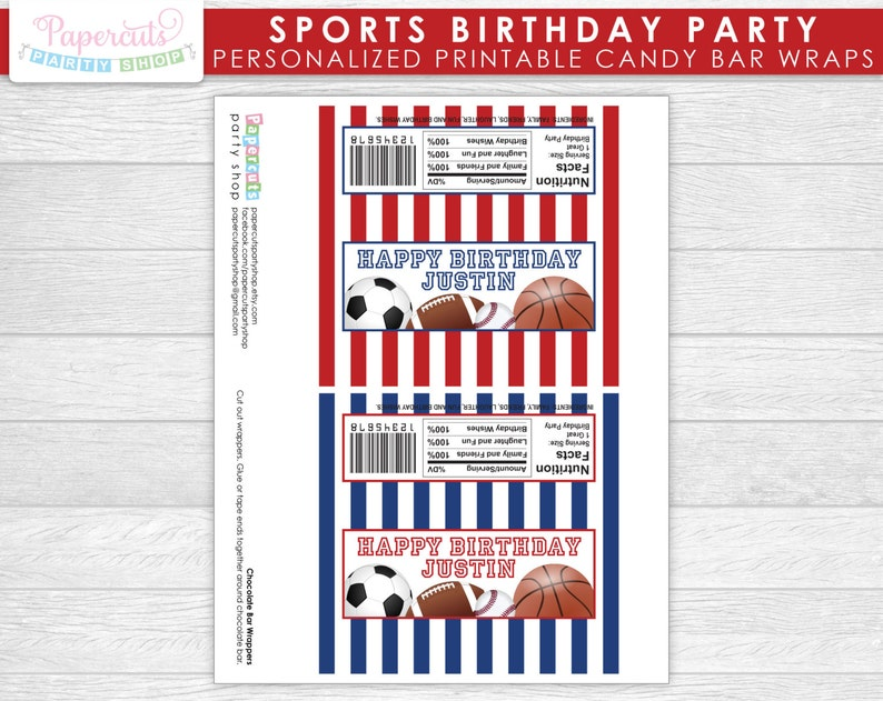 Printable DIY Digital File Red /& Blue Personalized All Star Sports Theme Birthday Party Chocolate Bar Wrappers
