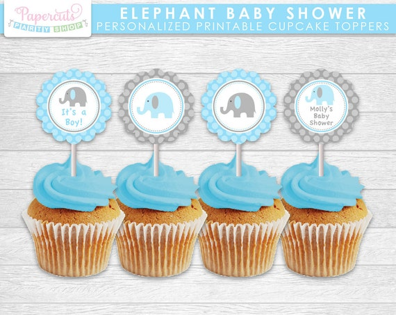 Elephant Theme Baby Shower Cupcake Toppers Blue Grey Etsy
