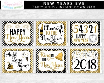 New Years Eve Theme Signs | Happy New Year | Non-Personalized | Printable DIY Digital File | INSTANT DOWNLOAD