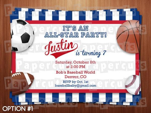 All Star Sports Theme Birthday Party Invitation Red Blue Etsy