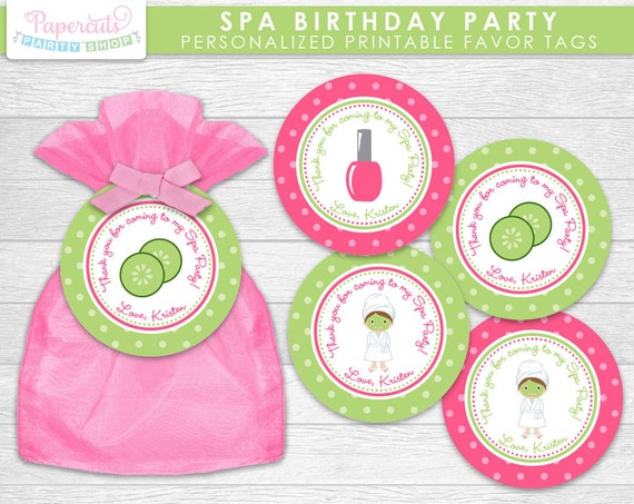 spa theme birthday party favor tags pink green personalized
