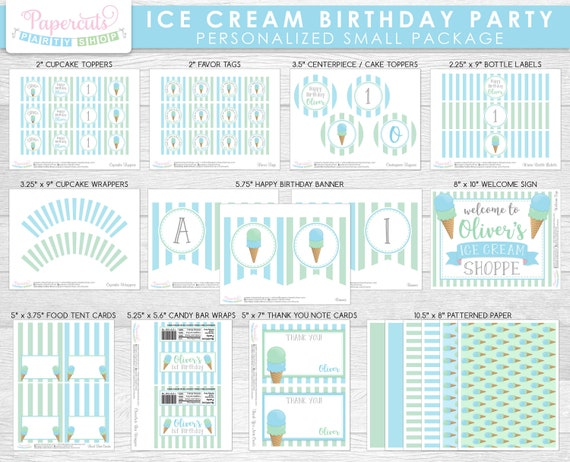 Blue /& Cream Personalized Party Thank You Cards