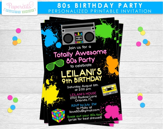 Totally 80s Theme Birthday Party Invitation Neon Green Pink Blue
