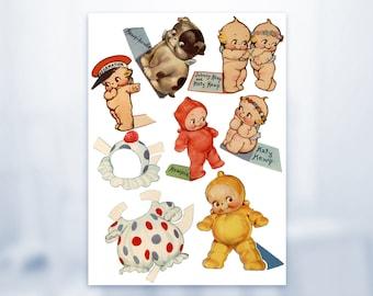 Baby Kewpies 1939 Katy & Johnny Kewp Kewpiedoodle Dog Clown Kewpie Printable Paper Doll Digital Ephemera Download Vintage Baby Paper Doll