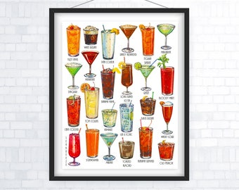 Cocktail Gift, Cocktails Poster, Classic Cocktail Gifts, Cocktail Print, Infographic, Mid Century Style Art, Kitchen Poster, Bar poster