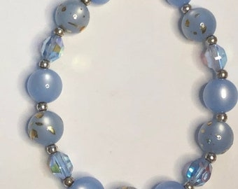2 pieces Centrepieces silver bead 2 flower beads accents blue tone MB205-A