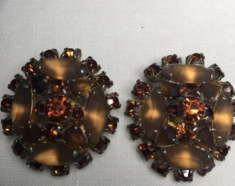 ON  SALE Vintage 1960s Topaz and Light Topaz Clip Earrings  Item: TTER