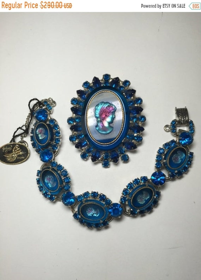 ON SALE D/&E aka Juliana Blue Glass Cameo Demi  Parure Brooch and Bracelet  Original Tag  Item 17311