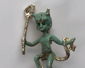 ON  SALE Vintage Devil Brooch Green Enamel  Item: DEVIL