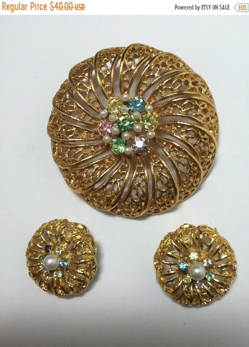 12779 ON SALE Vintage BSK Filigree with Rhinestones /& Pearls Demi   Item