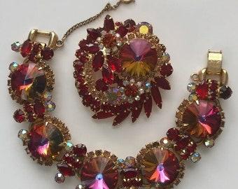 ON  SALE D&E aka Juliana Red Rivoli Demi Parure bracelet, Brooch   Item: 15170
