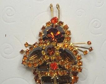 ON  SALE RARE D&E aka Juliana Topaz, Orange and Amber Bee Brooch   Item: 17654