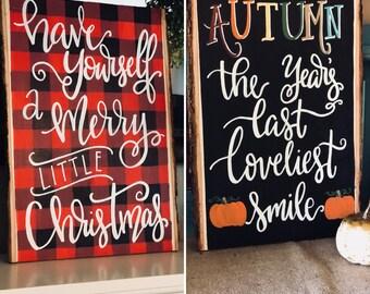 reversible fall christmas sign reversible signs fall signs christmas signs wood signs sayings wood signs christmas decor fall decor