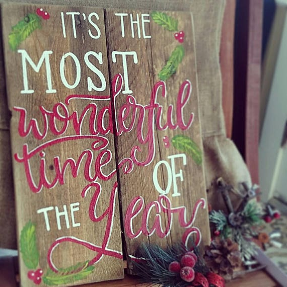 Christmas Wood Signs.Christmas Wood Sign Christmas Sign Wood Signs Sayings Wood Signs It S The Most Wonderful Time Of The Year Sign Christmas Wooden Signs