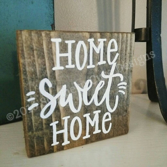 Home Sweet Home Sign Wood Signs Wood Signs Home Wood Signs Sayings Wood Block Signs Home Signs Hand Painted Signs Pallet Signs