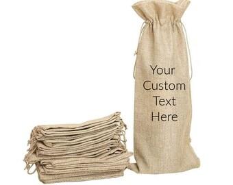 Custom Wine Holder - Wine Burlap Bag - Wine Bag Personalized - Wedding Gift -Wine Tote -Personalized Canvas Wine Bag -Wine Tote Personalized