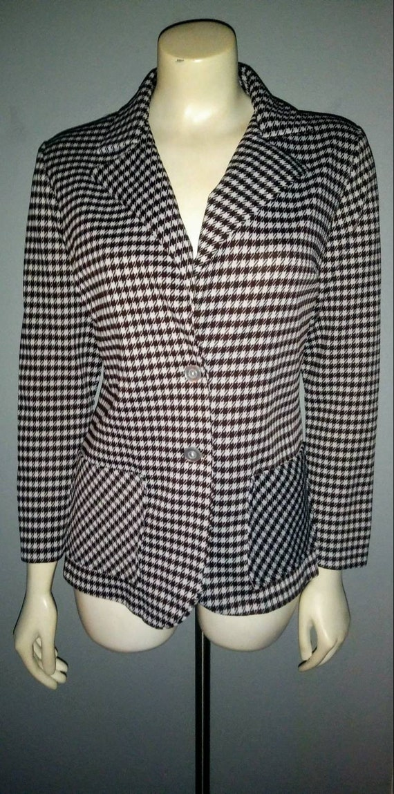 Vintage 1970s Polyester Jacket Brown White Houndst