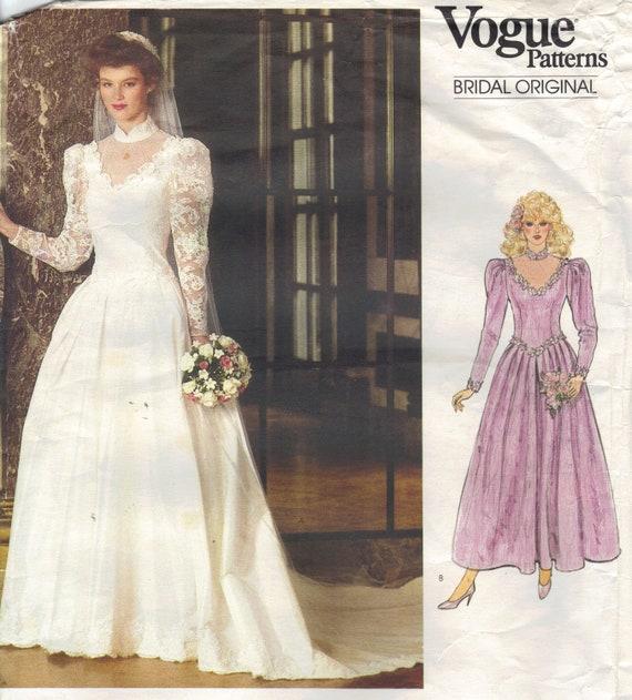 Retro 80s Wedding Gown Bride Bridesmaid Dress Vogue Sewing | Etsy